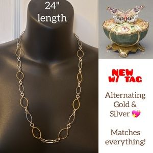 "Jewelry - NEW 24"" Gold & Silver tone necklace"